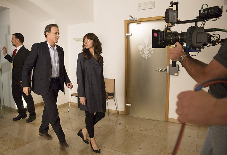 Tom Hanks and Felicity Jones head to the security room of the Palazzo Vecchio on the set of Columbia Pictures' INFERNO.